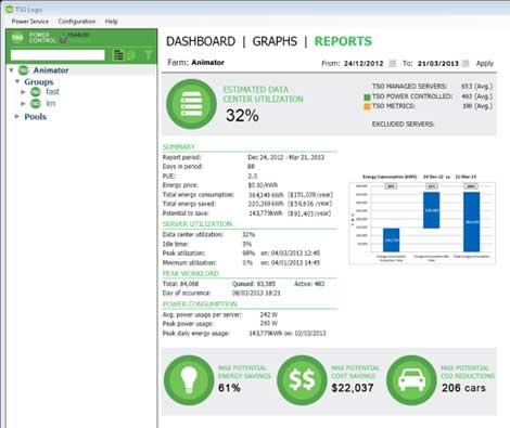 A screen shot from the TSO Logic energy management software, which launches today.