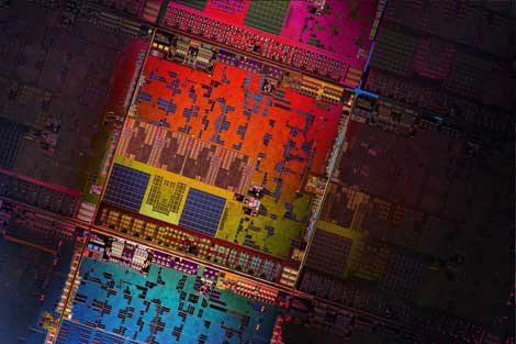 "The wafer for the AMD ""Kyoto"" series processors, which make their debut today, offering improved power efficiency. (Image: AMD)"