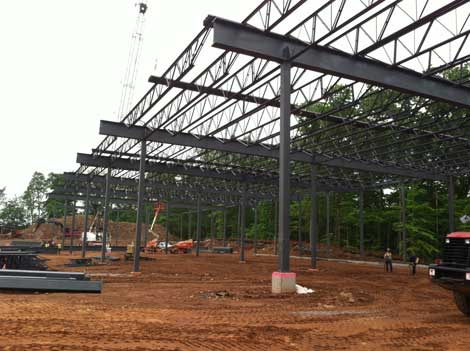 The steel framework is already going up for a new data center being built by Russo Development and Sentinel Data Centers. Bloomberg L.P. will be the tenant for the facility in Orangetown, N.Y. (Photo: Russo Development)