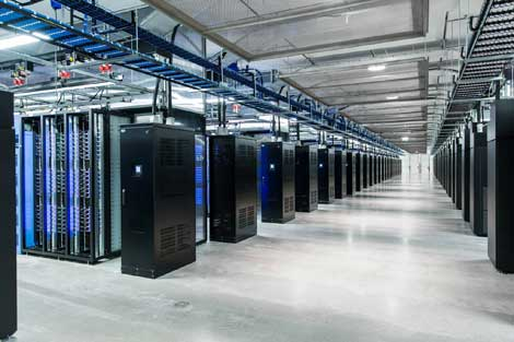 Rows of cabinets inside Facebook's Lulea data center. (Photo: Facebook)