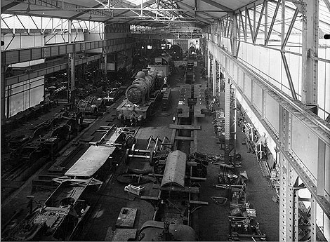 A view of the factory floor of the Corpet Louvet plant while it was in operation building steam locomotives.