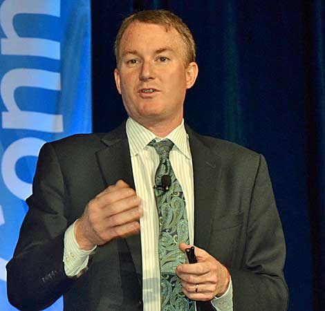 Shannon Poulin, vice president of Intel's Datacenter and Connected Systems Group, delivered the keynote Monday at AFCOM's Data Center World conference in Orlando. He noted that IT has evolved from a unit that supports the business, to a function that is central to the business, and now in some cases IT