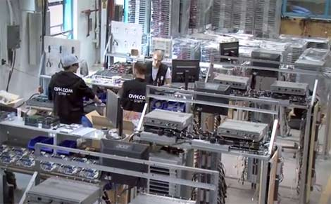 OVH employees assemble the company's custom servers inside the Beauharnois data center facility. (Photo: OVH)