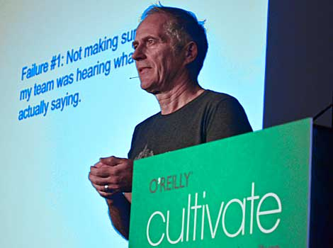 Tim O'Reilly, O'Reilly Media founder and CEO, shared points of how he failed as he was evolving his business. Major points included, not making sure that staff heard what he was saying and financial and operational discipline. (Photo by Colleen Miller)