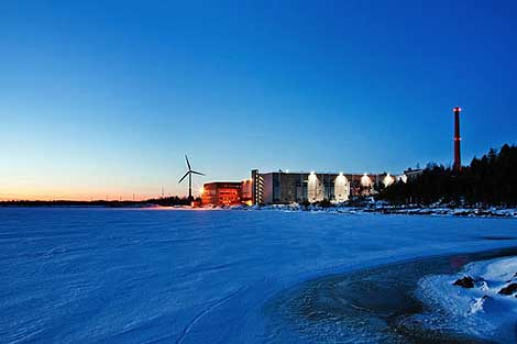View of the data center and a wind turbine. (Photo: Google.)