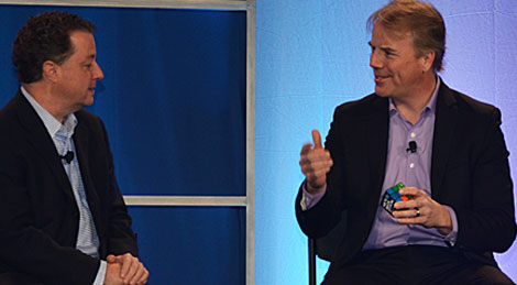 Gartner analyst Ray Paquet interviews Dean Nelson (left) of eBay's global foundation services about what impacts the recent deployment of eBay's dashboard metrics have had on the organization in 2013. (Photo by Colleen Miller.)