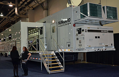 Sungard Availability Services, which supplies disaster recovery and business continuity services, was at the conference with mobile units that can be used in the event of a disaster. (Photo by Colleen Miller.)