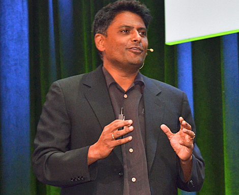 Paramesh Gopi,Chief Executive Officer and President at Applied Micro Circuits Corp., said his company brought out the X-Gene ARMv8 64-bit Server on a Chip Solution in 2013 and anticipated rolling out X-Gene2 this spring. The new version will be used for cloud deployments and hybrid data centers for the enterprise. (Photo by Colleen Miller.)