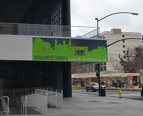 A shot of the signage on the San Jose Convention Center in downtown San Jose, CA. With the large number of attendees, the Open Compute Summit has far outgrown its original meeting place - Facebook's employee kitchen in Palo Alto. (Photo by Colleen Miller.)