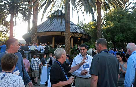 Tuesday's sessions concluded with a reception at the Dolphin Bar at the Mirage. Beautiful evening by the pool and an opportunity to catch up with colleagues. (Photo by Colleen Miller.)