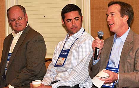 All data centers are local but they exist in a world of global enterprise. This panel focused on developing a global colocation strategy. Panelists included (left to right) Todd Cushing, senior consultant, CBRE, John Dunaway, director of sales, Data Foundry, and Jim Leach, vice president marketing, Raging Wire. (Photo by Colleen Miller.)
