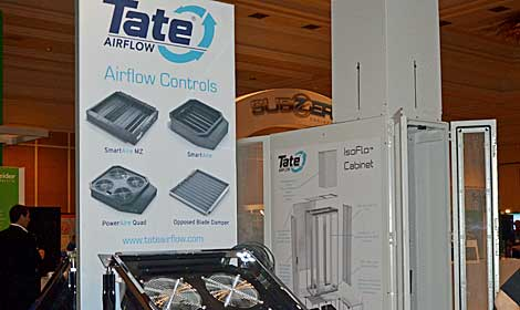 Tate, which makes raised flooring and air flow products, had displays of its equipment. (Photo by Colleen Miller.)