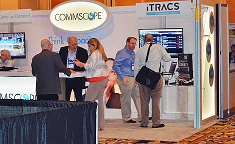 DCIM tools are always a hot topic at the Data Center World conference. iTRACS, a Commscope company, was in the expo hall presenting demonstrations of its DCIM product and talking with end users. (Photo by Colleen Miller.)
