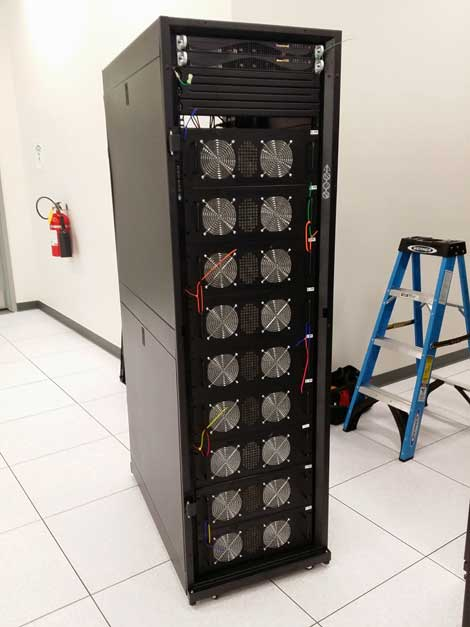 This rack of Bitcoin mining equipment will run at 20 kW in a Latisys data center. (Image: Rocky Mountain Miners)