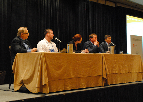 "The session on ""Aligning Business & Technology Strategies to Deliver Value and ROI"" included panelists (left to right) Dennis Wenk, Symantec; Jake Sherrill, Tier 4 Advisors; Nicola Hayes, Andrasta; Chris Crosby, Compass Datacenters and Derek Odegard, CentricsIT."