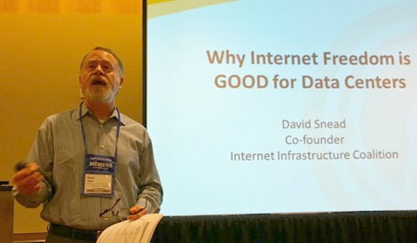 David Snead, founder of the Internet Infrastructure Coalition, speaking at Data Center World 2014 in Orlando. (Photo: Rich Miller)