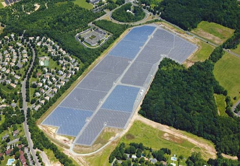 An aerial view reveals the full scope of the massive solar array in East Windsor, N.J. (Photo: McGraw-Hill)