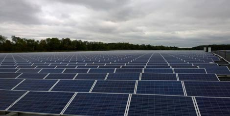Some of the more than 57,000 solar panels at the QTS Princeton data center campus. (Photo: Rich Miller)