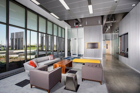 Front lobby at Facebook's Altoona data center. (Photo: @2014 Jacob Sharp Photography)