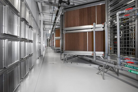 Evaporator room at Facebook's Altoona data center. (Photo: @2014 Jacob Sharp Photography)