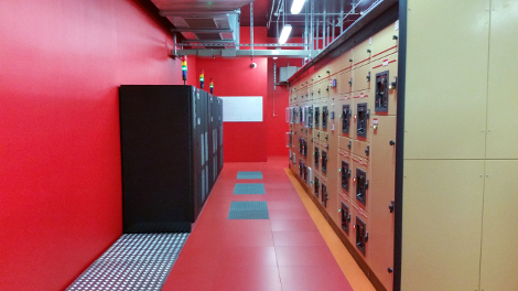 UPS and transfer switches serving one of the big data halls at Illiad's DC3