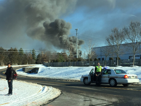 Roof fire at an Amazon data center construction site in Ashburn, Virginia, was contained, with no reported injuries. (Photo: Rob Johnston)