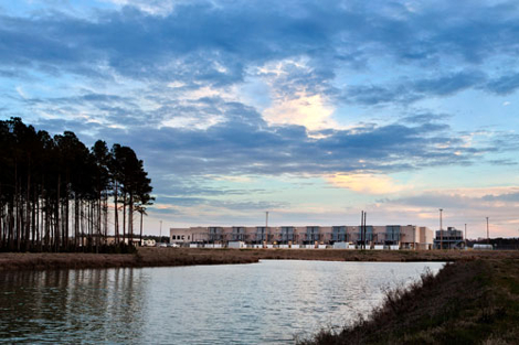 Google's infrastructure team is experimenting with using this rainwater retention pond as a source of water for the South Carolina data center's cooling system. (Photo: Google)
