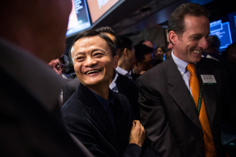 Founder and Executive Chairman of Alibaba Group Jack Ma (L) attends the company's initial price offering (IPO) at the New York Stock Exchange on September 19, 2014 in New York City. (Photo by Andrew Burton/Getty Images)