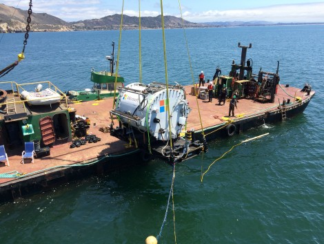 Project Natick, Microsoft's experimental underwater data center, being deployed off the coast of California (Photo: Microsoft)
