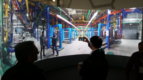 Attendees at Google Cloud Platform Next 2016 conference in San Francisco in March viewing the 360-degree virtual tour of a Google data center (Photo: Yevgeniy Sverdlik)