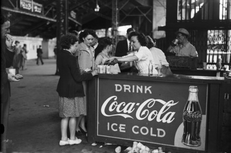 A Coca-Cola stall at Wembley Stadium during the Olympic Games in London, August 1948. (Photo by Topical Press Agency/Hulton Archive/Getty Images)