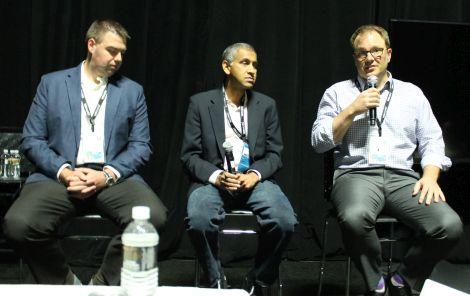 [left to right: Brendan Hahn, Solutions Architect, West Bend Mutual Insurance; Dr. Rajiv Ramaswami, XVP/GM Network & Security Business Unit, VMware; Brian Irwan, Technical Program Manager, Washington Federal