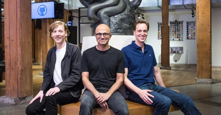 From left: Chris Wanstrath, Github CEO and co-founder; Satya Nadella, Microsoft CEO; and Nat Friedman, Microsoft corporate vice president, Developer Services
