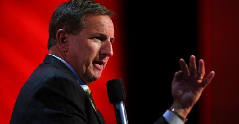 Oracle Co-CEO Mark Hurd speaking at Oracle Open World in September 2013 in San Francisco. Hurd was then the company's president