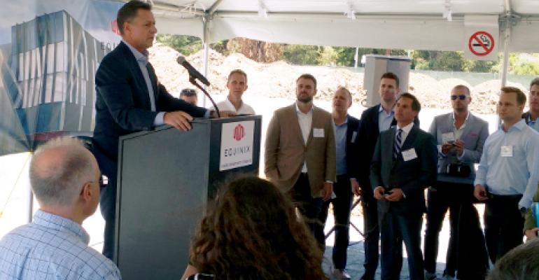 Equinix's former CEO Steve Smith speaking at a data center groundbreaking in Silicon Valley