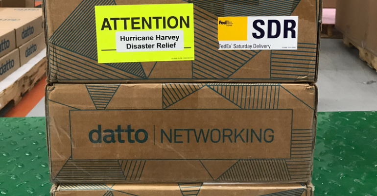 Datto's Data Networking Appliances in shipping boxes
