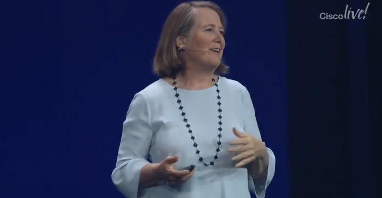 Google Cloud CEO Diane Greene speaking at Cisco Live! 2018