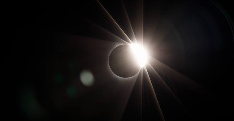 The solar eclipse on August 21, 2017, shot from the roof of the Facebook data center in Prineville, Oregon