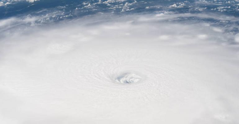 The eye of Hurricane Irma is clearly visible from the International Space Station as it orbited over the Category 5 storm on Sept. 5, 2017.