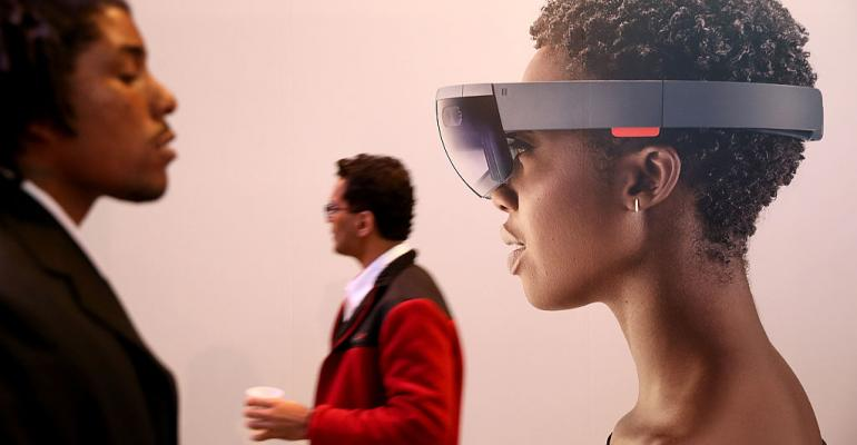Microsoft HoloLens augmented reality (AR) viewer at the 2016 Microsoft Build Developer Conference in San Francisco.