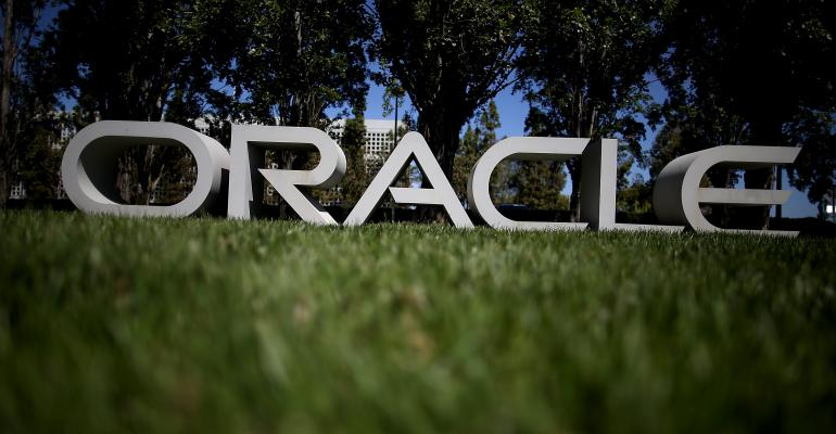 Oracle logo, HQ, Redwood City, California, 2014
