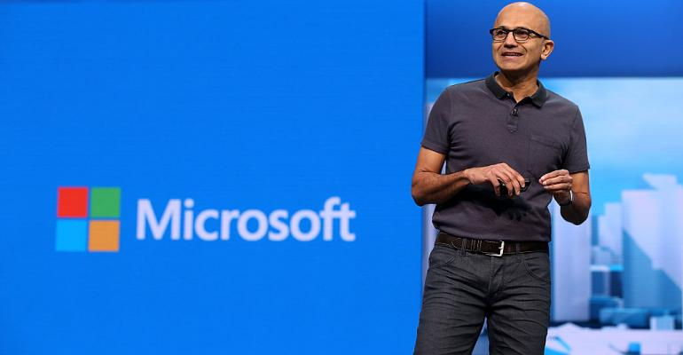 Microsoft CEO Satya Nadella, speaking at Build 2016