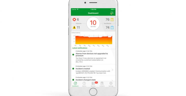 Schneider Electric's EcoStruxure IT mobile dashboard