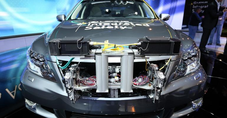 A Lexus LS Integrated Safety self-driving car at the 2013 International CES in Las Vegas