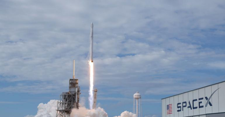The SpaceX Falcon 9 rocket, with the Dragon spacecraft onboard, launches from pad 39A at NASA's Kennedy Space Center in Cape Canaveral, Florida, Saturday, June 3, 2017