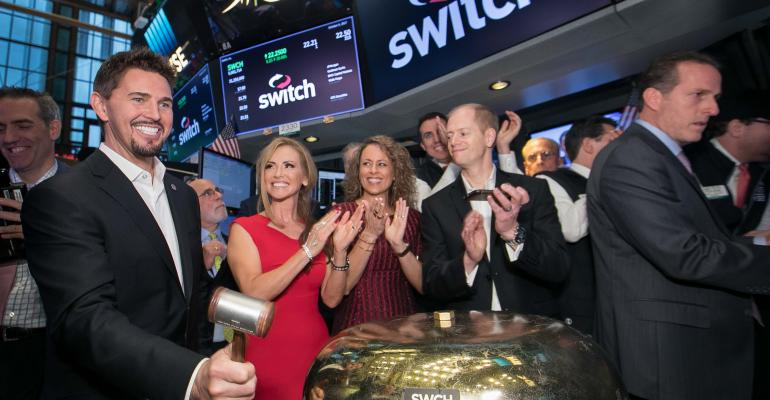 Switch CEO and founder Rob Roy rings the opening bell at NYSE on the company's IPO day on Oct. 6, 2017