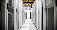 A look down an aisle at an EdgeConneX data center