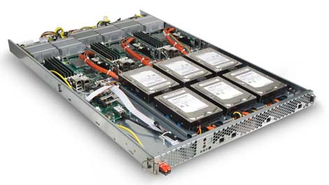The server trays from the CloudRack C2 enclosure from Rackable have no on-board fans and power supplies.