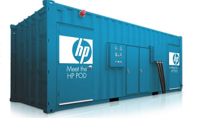 The HP-POD data center container.