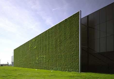 "The new Citi Data Center in Frankfurt features a ""green wall"" featuring plants that are irrigated with recycled water."